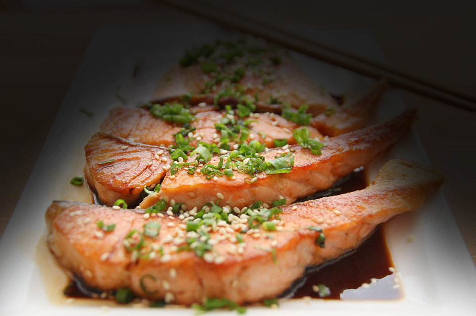 Salmon Cooking Teriyaki Food